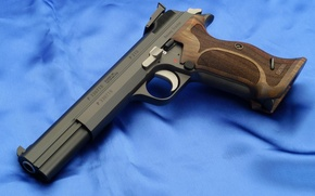 Picture gun, weapons, Wallpaper, blue background, Sig P210