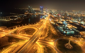 Picture night, lights, building, road, horizon, Bahrain