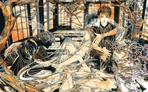 Picture trees, Windows, perfume, hands, hugs, guy, ghosts, manga, in the room, art, vision, Ayumi Kasai