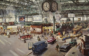 Picture the city, people, smoke, watch, picture, Station, trains, 1967, Terence Cuneo