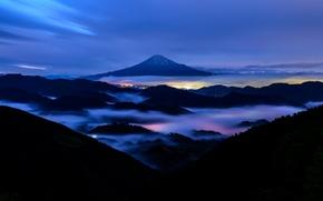 Picture mountain, the evening, Japan, Fuji, stratovolcano, Mount Fuji, the island of Honshu