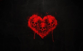Picture blood, Heart, Skull, black background, Three skulls