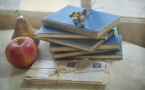 Picture background, books, Apple, letters
