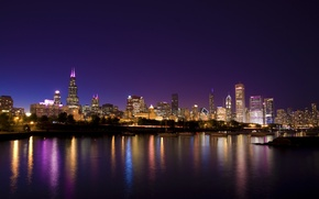 Picture city, the city, lights, Park, yachts, the evening, USA, Chicago, Illinois, promenade