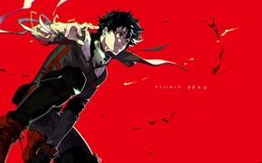 Picture red, background, anime, art, guy, Boku no Hero Academy