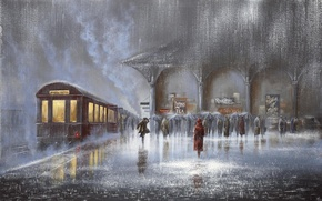 Picture people, rain, woman, meeting, station, train, picture, the car, the platform, umbrellas, male, two, the …