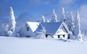 Picture winter, the sky, clouds, snow, trees, landscape, nature, house, house, sky, trees, landscape, nature, winter, ...