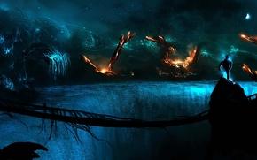 Picture bridge, rocks, fire, dark, planet, people, art, Alberto Vangelista