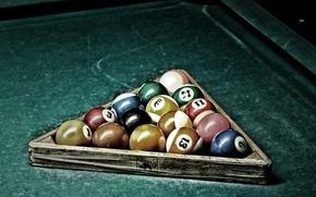 Picture balls, Billiards, cocked hat, Cue