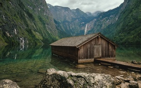 Wallpaper mountains, Germany, lake, house, Lake Obersee, forest, Bayern, stones