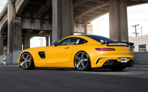 Picture Mercedes-Benz, AMG, Yellow, Supercar, Rear, 2015
