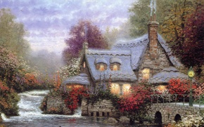 Picture flowers, comfort, river, heat, duck, the evening, house, the bridge, cottage, smoke, Thomas kinkade, Kincaid, ...