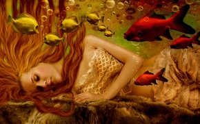 Picture water, girl, fish, bubbles, face, fiction, hair, mermaid, hands, long