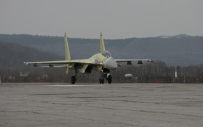 Picture fighter, Su-35, test, training, to take off