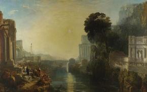 Picture landscape, bridge, river, picture, myth, William Turner, Dido Building Carthage