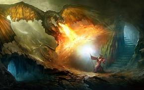Picture fire, magic, dragon, ladder, skeleton, MAG, steps, staff, cave, battle, the sorcerer