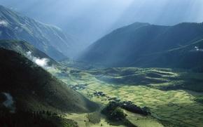 Wallpaper field, light, Mountains