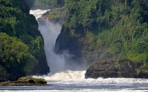 Picture greens, foam, squirt, river, rocks, waterfall, stream, Africa, Uganda, rapid, Murchison Falls National Park