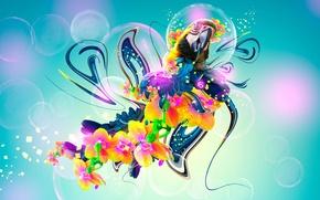 Picture Flowers, Bird, Style, Wallpaper, Parrot, Fantasy, Art, Photoshop, Photoshop, Flowers, Plastic, Neon, Parrot, Bird, 2014, …