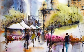 Wallpaper the city, picture, watercolor