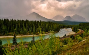 Picture road, forest, the sky, clouds, mountains, river, rails
