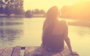 Picture girl, the sun, light, river, pier