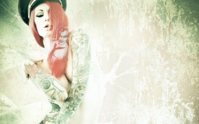 Picture girl, style, background, tattoo