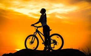 Wallpaper the sky, girl, sunset, bike, sport, silhouette, bike, twilight, bike, mountain