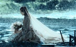 Wallpaper girl, rain, bouquet, Keira Knightley, veil, Nesta, dead man's chest, Elizabeth Swann