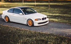 Picture BMW, Tuning, White, BMW, Lights, COUPE, White, E46, Coupe, Stance, 323ci