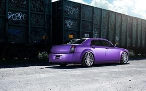 Picture Chrysler, wheels, tuning, 300, vossen, purple, rearside