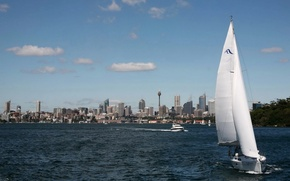 Picture the city, Australia, Sydney, boats, tower, skyscrapers, Australia, Sydney, Bank, run, sailboat., the waters