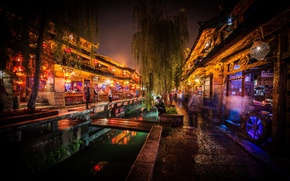 Picture dark, Lijiang, market, canal, China night shot