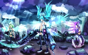 Picture the sky, clouds, light, the city, stones, weapons, girls, home, wings, art, braid, vocaloid, hatsune …