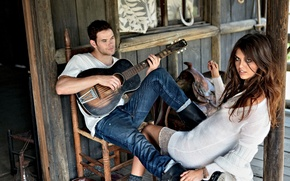 Picture girl, house, Wallpaper, model, guitar, brunette, wallpaper, hut, guy, saddle, plays, kellan lutz