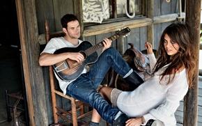 Picture hut, guy, saddle, kellan lutz, Wallpaper, brunette, house, girl, plays, guitar, wallpaper, model