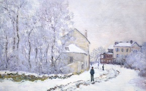 Wallpaper Claude Monet, picture, the urban landscape, Snow at Argenteuil