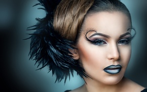Picture eyelashes, background, model, hair, feathers, makeup, hairstyle