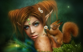 Picture girl, elf, chamomile, fairy, protein, red, decoration, ears