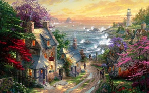 Picture road, sea, lighthouse, home, village, puddles, painting, Thomas Kinkade, cottages, The Village Lighthouse