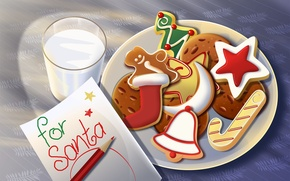 Wallpaper sweets, gifts, new Year, holidays, letter, toys, milk, glass, new year, Christmas, star
