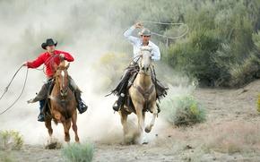 Picture lasso, two cowboys, horses
