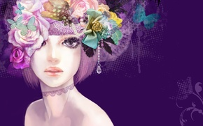 Picture girl, butterfly, flowers, figure, art, pendant, purple background
