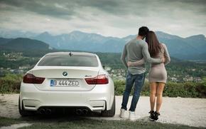 Picture white, girl, love, landscape, mountains, view, BMW, pair, Guy, Coupe, Carpathians, F82, Romania, Transylvania