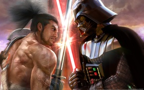 Picture katana, battle, swords, Soul Calibur 4, swords, Darth Vader vs samurai, Star Wars