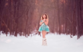 Picture winter, forest, snow, dress, girl, Blue