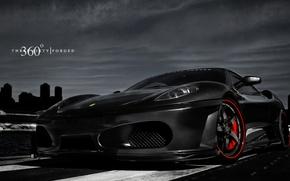 Picture the sky, night, the city, 360 forged, black ferrari, Ferrari F-430