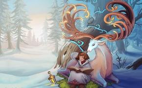 Picture winter, forest, tree, deer, art, girl, lantern, horns, book, Alexandra Semushina