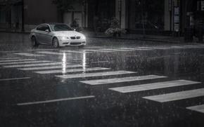 Picture machine, rain, street, car, BMW M3