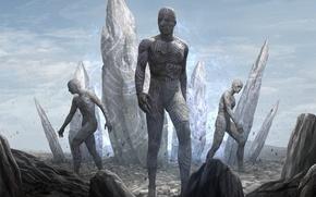 Picture fiction, stone, robots, art, soldiers, cyborg, cyberpunk